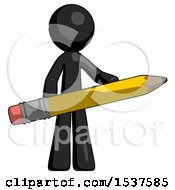 Black Design Mascot Man Writer Or Blogger Holding Large Pencil