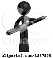Black Design Mascot Woman Posing Confidently With Giant Pen