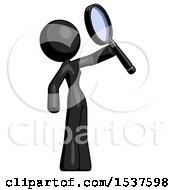 Black Design Mascot Woman Inspecting With Large Magnifying Glass Facing Up