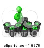 Green Person Giving The Thumbs Up While Standing By Trash Cans With Green Text Reading Ecology Clipart Illustration Image