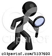 Black Design Mascot Woman Inspecting With Large Magnifying Glass Right