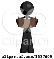 Black Design Mascot Woman Reading Book While Standing Up Facing Viewer