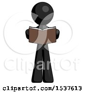 Black Design Mascot Man Reading Book While Standing Up Facing Viewer