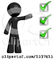 Black Design Mascot Man Standing By List Of Checkmarks