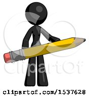 Black Design Mascot Woman Office Worker Or Writer Holding A Giant Pencil