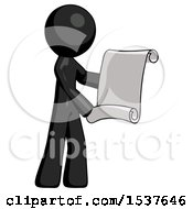 Black Design Mascot Man Holding Blueprints Or Scroll