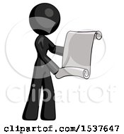 Black Design Mascot Woman Holding Blueprints Or Scroll