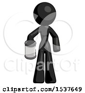 Black Design Mascot Woman Begger Holding Can Begging Or Asking For Charity