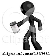 Black Design Mascot Woman Begger Holding Can Begging Or Asking For Charity Facing Left