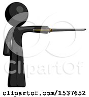 Black Design Mascot Man Standing With Ninja Sword Katana Pointing Right