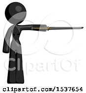 Black Design Mascot Woman Standing With Ninja Sword Katana Pointing Right