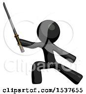 Black Design Mascot Man With Ninja Sword Katana In Defense Pose