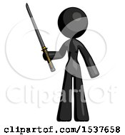 Black Design Mascot Woman Standing Up With Ninja Sword Katana