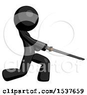 Black Design Mascot Man With Ninja Sword Katana Slicing Or Striking Something