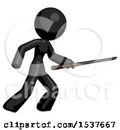 Black Design Mascot Woman Stabbing With Ninja Sword Katana