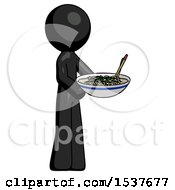 Black Design Mascot Man Holding Noodles Offering To Viewer