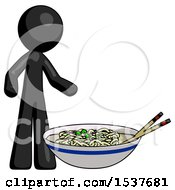 Black Design Mascot Man And Noodle Bowl Giant Soup Restaraunt Concept