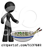 Black Design Mascot Woman And Noodle Bowl Giant Soup Restaraunt Concept