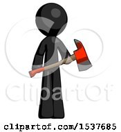 Black Design Mascot Man Holding Red Fire Fighters Ax