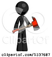 Black Design Mascot Woman Holding Red Fire Fighters Ax