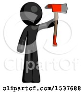 Black Design Mascot Man Holding Up Red Firefighters Ax
