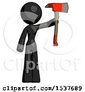 Black Design Mascot Woman Holding Up Red Firefighters Ax