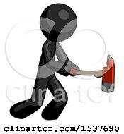 Black Design Mascot Man With Ax Hitting Striking Or Chopping