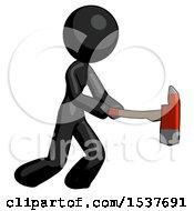 Black Design Mascot Woman With Ax Hitting Striking Or Chopping
