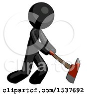 Black Design Mascot Man Striking With A Red Firefighters Ax