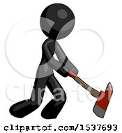 Black Design Mascot Woman Striking With A Red Firefighters Ax