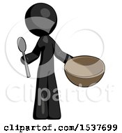 Black Design Mascot Man With Empty Bowl And Spoon Ready To Make Something