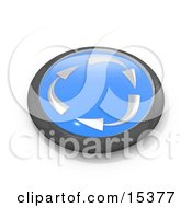 Blue Button With Silver Recycle Arrows Moving Clockwise Clipart Illustration Image