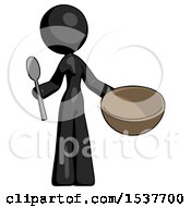 Black Design Mascot Woman With Empty Bowl And Spoon Ready To Make Something