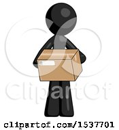 Black Design Mascot Man Holding Box Sent Or Arriving In Mail