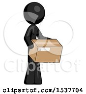 Black Design Mascot Woman Holding Package To Send Or Recieve In Mail