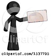 Black Design Mascot Man Holding Large Envelope
