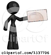 Black Design Mascot Woman Holding Large Envelope