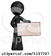 Black Design Mascot Man Presenting Large Envelope