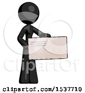 Black Design Mascot Woman Presenting Large Envelope