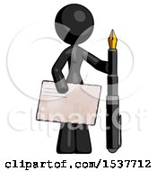 Black Design Mascot Woman Holding Large Envelope And Calligraphy Pen