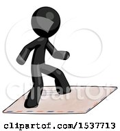 Black Design Mascot Man On Postage Envelope Surfing
