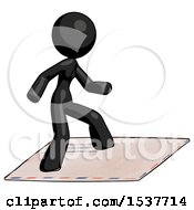Black Design Mascot Woman On Postage Envelope Surfing