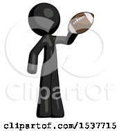 Black Design Mascot Man Holding Football Up