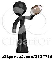 Black Design Mascot Woman Holding Football Up