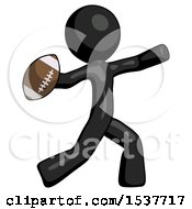 Black Design Mascot Man Throwing Football