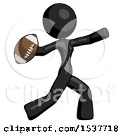Black Design Mascot Woman Throwing Football