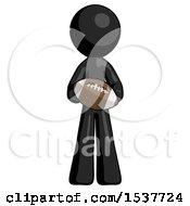 Black Design Mascot Man Giving Football To You