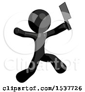 Black Design Mascot Man Psycho Running With Meat Cleaver