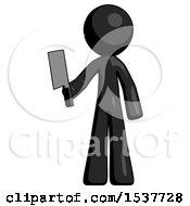 Black Design Mascot Man Holding Meat Cleaver