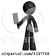 Black Design Mascot Woman Holding Meat Cleaver